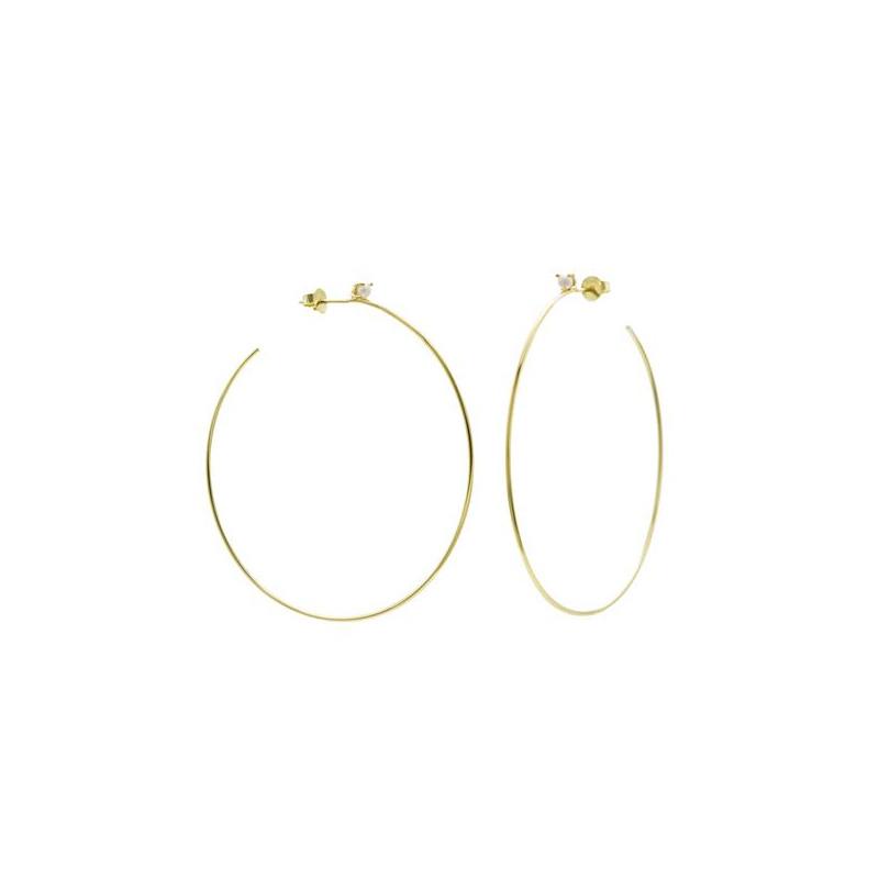 Pendientes Aros Dorados Con Mini Perla 17876-A